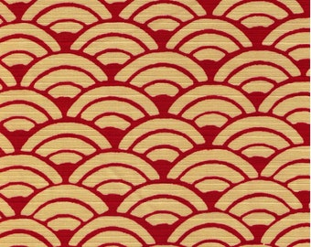 HALF YARD Seigaiha on RED - Cotton Dobby - Cream Waves on Red - 850108-23 Traditional Geometric Japanese Design - Sea Wave Fans