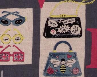 HALF YARD Yuwa - Fashion on Grey 048  - Miyako Kawaguchi - Cotton Linen Canvas -