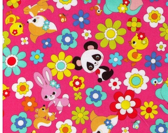HALF YARD Cosmo Textile - Kawaii Animals and Flowers on Bright Pink 02405-2E - Panda, Duck, Elephant, Bunny, Rabbit - Japanese Import