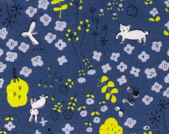 HALF YARD Yuwa - Bunny Fox in Flower Forest on BLUE - Megumi Sakakibara Collection 1808-E - Cotton Lawn - Line Drawing - Japanese Import