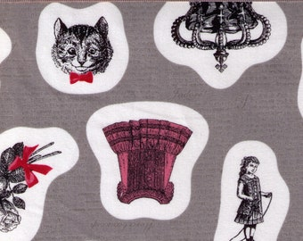 HALF YARD Kokka - Ornaments on GREY - Cat with Red Bowtie, Antique, Shoe, Bow, Dress, Corset, Roses, Silverware - Japanese Import