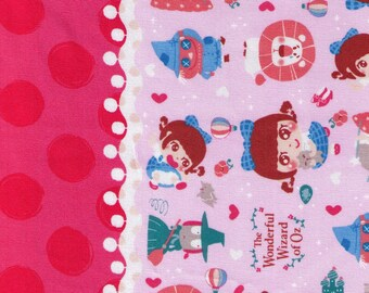 HALF YARD Kiyohara- Wizard of Oz Border Print on Pink 11P Fairytale - Tin Man Good witch Dorthy Toto Ruby Slippers Lion Scarecrow
