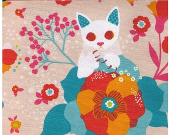 HALF YARD Kiyohara - Kayo Horaguchi - Cats, Claws and Birds on BEIGE - 50-Be - Cotton Canvas - Imported Japanese Fabric