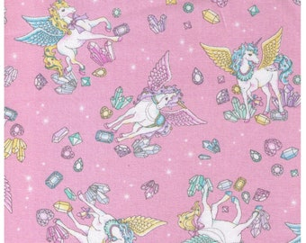 HALF YARD Cosmo Textile - Vanilla Pop Alacorn and Crystals PINK - AP75409 B - Glitter Pegacorn Pegasus Unicorn Mythical Gem Diamond Sparkle