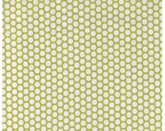 HALF YARD Yuwa Fabric - Cream Kei Honeycombs on Green Cream Background - Colorway 104 - Polka Dots by Kei - Japanese Import Fabric