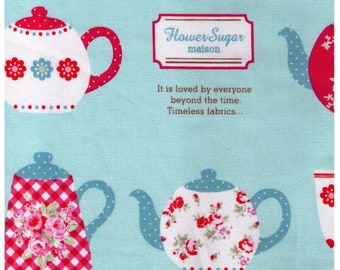 HALF YARD Lecien - Teapot and Teacups on Mint Green 40399-60 - Flower Sugar Maison - - Teal, Watermelon Red, Green - Afternoon Coffee Cups