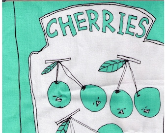 PANEL - Cherries Fresh Fruit on Teal by Taku Yoshimizu Swimmy Design Labs - Canvas - Japanese Import