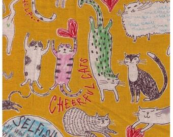 HALF YARD  - Cheerful Cats on Yellow - Miyako Kawaguchi - 3CLA C - Cotton Linen Canvas - Neko, Stretch, Heart, Butt - Yuwa Kei