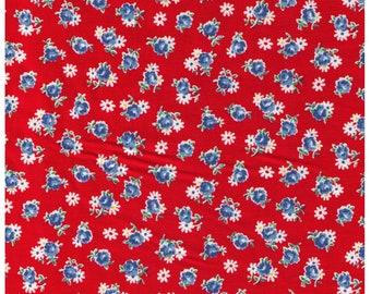 HALF YARD Yuwa - Blue Mini Rose and Daisies on Red - Atsuko Matsuyama 116571-F - Japanese Import Fabric