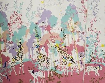 HALF YARD Kiyohara - Kayo Horaguchi - HKF-55P Pink Border on Ivory - Rainbow Forest, Giraffe, Meerkat, Deer, Jaguar, Owl - Linen Cotton