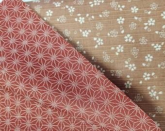 HALF YARD Pink Sakura and dark pink Asanoha  Cotton Dobby - 882325-1-3 - 2 Sided  - Traditional Japanese Design double sided