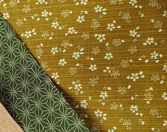 HALF YARD Olive Sakura and dark green Asanoha  Cotton Dobby - 882325-1-4 - 2 Sided  - Traditional Japanese Design double sided