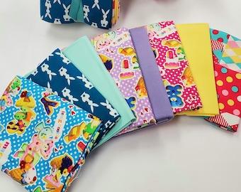 FAT QUARTER Bundle - Cookies, Bunnies and Patchwork - 8 Pieces - Kokka, Cosmo Textile and Lecien Fabrics