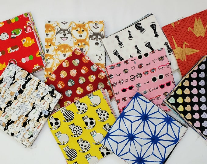 Featured listing image: Japanese Charm Swap Pack - Sewtopia Village SewAlong - Combination of all types Japanese Prints and Fabrics