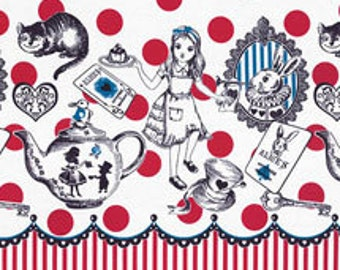 HALF YARD Lecien - Judies Cotton Collection 40536-10 - Alice in Wonderland RED Texts Polka Dot - White Rabbit, Queen of Hearts Bows