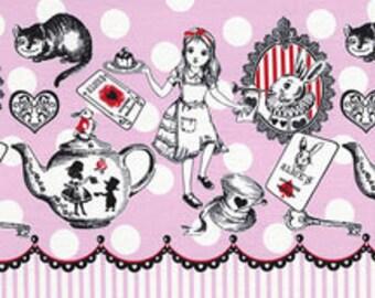 HALF YARD Lecien - Judies Cotton Collection 40536-20 - Alice in Wonderland PINK Texts Polka Dot - White Rabbit, Queen of Hearts Bows
