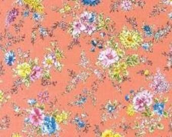 HALF YARD Lecien - Memoire a Paris - Ditzy on Orange - 820815L-40 - Cotton Quilting - Floral, Flower, Botanical - Japanese