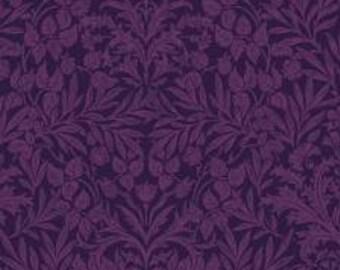 HALF YARD Lecien - Memoire a Paris - Damask Floral in Purple - 820817L-110 - Cotton Broadcloth - Floral, Flower, Botanical - Japanese
