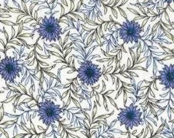 HALF YARD Lecien - Memoire a Paris 2019 - Purple Daisies - 41088-10 - Cotton Lawn - Floral, Flower, Botanical - Japanese