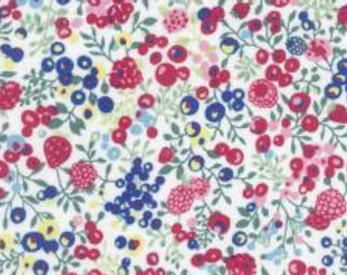 HALF YARD Lecien - Memoire a Paris 2018 - Blue, Raspberry, Yellow Berries on WHITE 40963-10 - Cotton Lawn - Flowers - Japanese Import