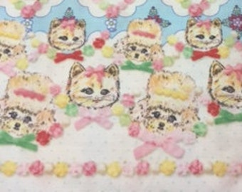 HALF YARD - Kokka - Candy Party - Yumi Kiribuchi 3190-1C - Kittens and Poodles on Blue - Border Print - Double Gauze - Japanese Imported
