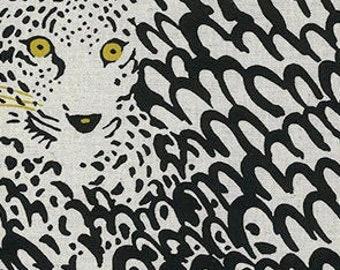 HALF Yard - Kobayashi - Sneaky Cheetah White UP 5695-A - Cotton Linen Blend - Japanese Import