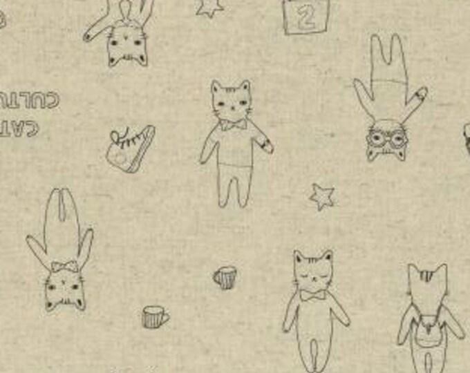 HALF YARD Lecien - Line Draw Cats Culture Natural - Kyururu Collection - 40915-10 - Linen Cotton Oxford - Japanese Import