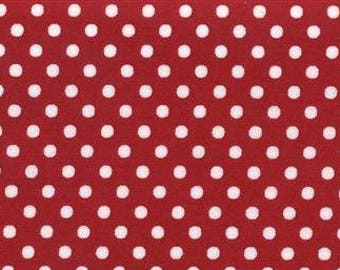 HALF YARD - Lecien - Color Basic - 4505-R White Dots on Red  - Japanese Import Fabric