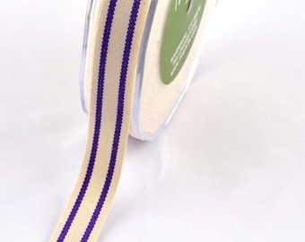 MAY ARTS Ribbon - 1 yard - 5/8 Inch Cotton Blend Ribbon with PURPLE Stripes - Sku: 385-58-47