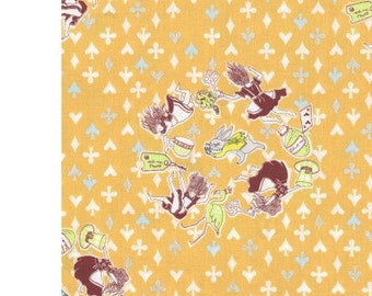HALF YARD - Sas and Yosh - Down the Rabbit Hole on Yellow - Alice, Rabbit, Wonderland - Kokka - Cotton Sheeting