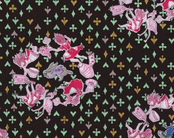 HALF YARD - Sas and Yosh - Down the Rabbit Hole on Black - Alice, Rabbit, Wonderland - Kokka - Cotton Sheeting