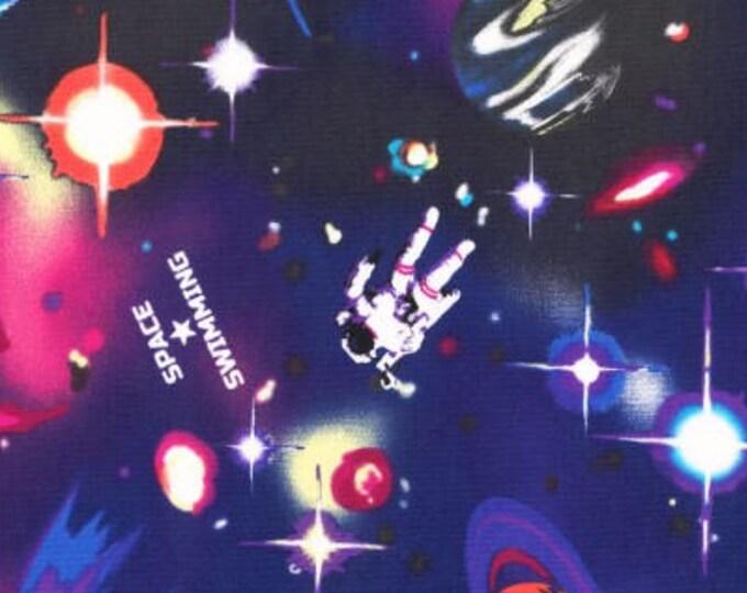 HALF YARD Lecien - Nico Nico Land 2017 - Space Swimming 40893-110 - Cotton Oxford - Astronaut, Satellite, Quasar, Planet - Japanese Import