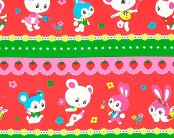 HALF YARD Honey Tune - Fruit Scallop Lines with Watermelon Red and Green 40984-30 - Strawberries Pineapples Flowers Bear - Lecien Japanese