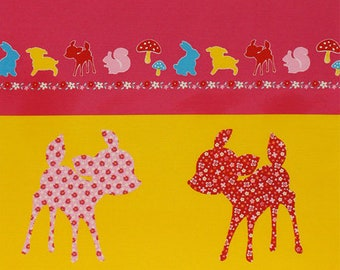 One PANEL Lecien - Deer and Triangle PANEL in Yellow/Red 40607-21 - Happy Rooming