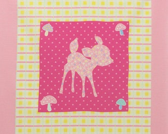 One PANEL Lecien - Deer and Bunny PANEL in Yellow and Light Pink 40606-20 - Happy Rooming