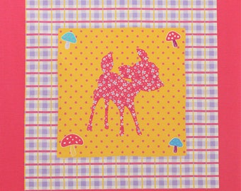 one PANEL Lecien - Deer and Bunny PANEL in Dark Pink and Purple 40606 110 - Happy Rooming