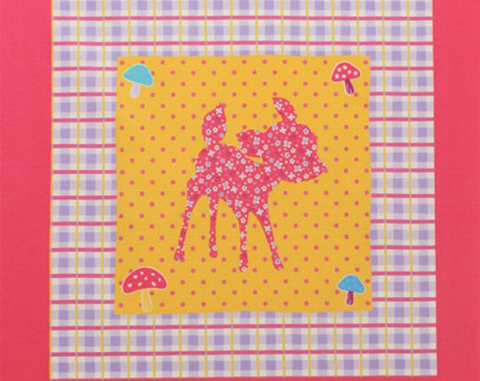 Sale (30) PANEL Lecien - Deer and Bunny PANEL in Dark Pink and Purple 40606 110 - Happy Rooming