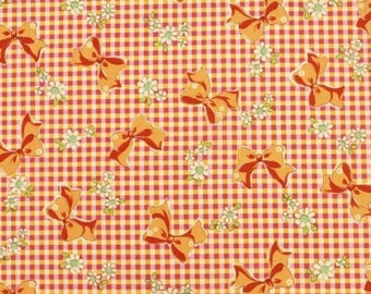 SHIP NOW - One Yard Precut - Yuwa - Yellow/Pink Gingham and Orange Bows with White Daisies 826155-C - Atsuko Matsuyama 30s - Daisies Bows