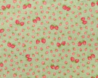 HALF YARD Yuwa - Mini Petite Red Strawberries on Light Aqua Green 446559-D  Atsuko Matsuyama 30s collection - Linen Cotton Canvas - Zakka
