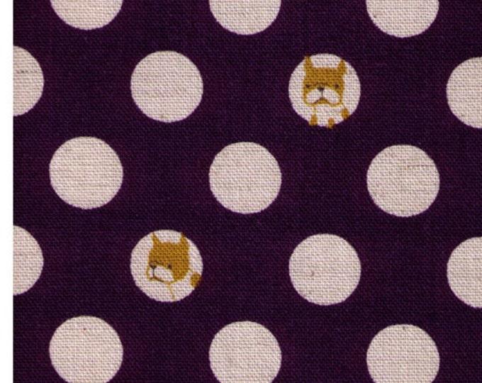 "Last Chance EOB - 15"" Cut - Kokka Trefle - Polka Dots and Pups - PURPLE Colorway - Cotton Linen Canvas -Frenchie, Dog, Bulldog - Japanese"