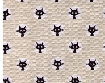 HALF YARD Coco Land Cat Face Circles on STONE 10002-14A - Cocoland Kitties - Black Kitty Head - Japanese Import Fabric
