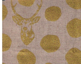 HALF YARD Kokka Echino Spring 2016 - Sambar on Natural JG-96500-501B - Metallic Gold on Natural - 45/55 Cotton Linen Blend