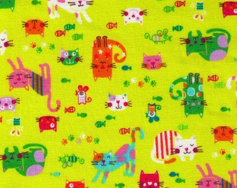 HALF YARD - Happy Cats - CHARTREUSE - Kitty, Mice, Paw Print, Fish - Japanese Imported