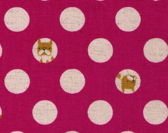 HALF YARD Kokka - Polka Dots and Pups - PINK Colorway - Trefle - 85/15 Cotton/Linen Blend -Frenchie, Dog, Bulldog - Japanese Import