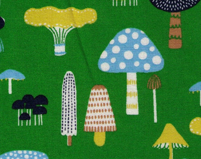 HALF YARD Blue and Yellow Mushrooms on Green - Woodland Toadstools - Graphic, Lines, Dots, Plaid, Rainbow - Japanese Imported Fabric