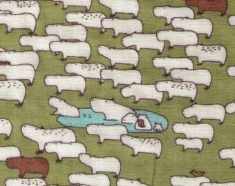 """End of Bolt - 17"""" Cut - Kobayashi - Capybaras on Olive - Double Gauze - Family, Watering Hole - Japanese Import Fabric"""