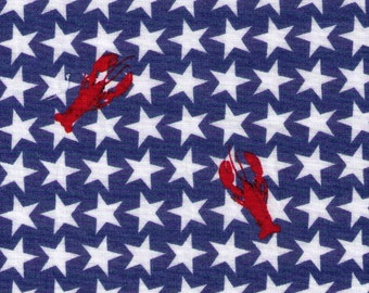 HALF YARD - Lobsters and Stars on Blue - Cotton Lawn - Japanese Import Fabric 297-620 13-D