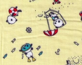 HALF YARD - Kobayashi - Cerise Mignonne - Pandas on Vacation - Double Gauze - Japanese Import -