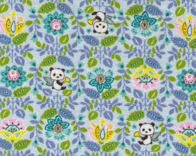 HALF YARD Kobayashi - Pandas with Wings and Trumpets - BLUE Colorway - Sweets Forest, Flowers - Japanese Import