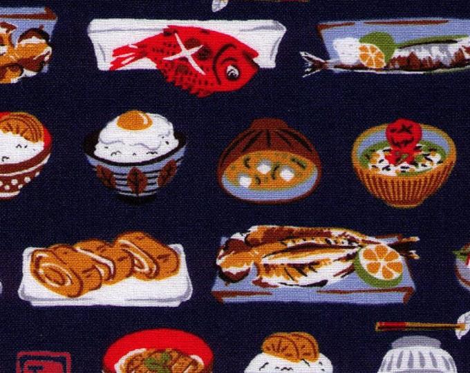 HALF YARD - Sushi and More! on Navy - Sashimi, Fish, Rice, Japanese Import Fabric